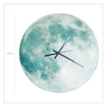 11.8in Luminous Moon Earth Wall Decals Sticker Wall Clock -Green Moon - $24.99