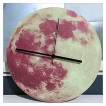 11.8in Luminous Moon Earth Wall Decals Sticker Wall Clock -Pink Moon - $24.99