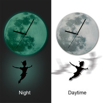 11.8in Luminous Moon Crescent Wall Decals Sticker Wall Clock with Pendul... - $26.39