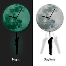 11.8in Luminous Moon Crescent Wall Decals Sticker Wall Clock with Pendulum - $26.39