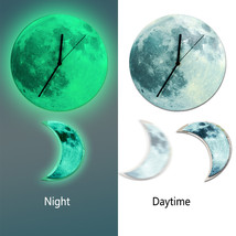 11.8in Luminous Moon Crescent Wall Decals Sticker Wall Clock with Pendul... - $31.19