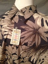 Campia Hawaiian Shirt XL NEW NWT Black Cotton Palms Leaves Tiki Aloha - $33.85