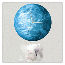 11.8in Luminous Moon Crescent Wall Decals Sticker Wall Clock Mermaid - $26.39