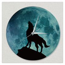 11.8in Luminous Moon Wall Decals Sticker Wall Clock -Wolf - $28.19