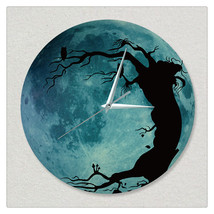 11.8in Luminous Moon Wall Decals Sticker Wall Clock -Tree - $28.19