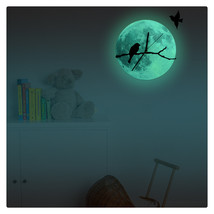 11.8in Luminous Moon Wall Decals Sticker Wall Clock -Bird - $28.19