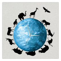11.8in Luminous Moon Earth Wall Decals Sticker Wall Clock  - $26.69