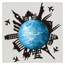 11.8in Luminous Moon Earth Wall Decals Sticker Wall Clock -City - $26.69