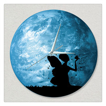 11.8in Luminous Moon Earth Wall Decals Sticker Wall Clock -Fairy - $26.69