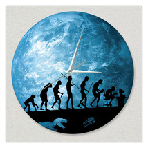 11.8in Luminous Moon Earth Wall Decals Sticker Wall Clock -People - $26.69