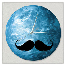 11.8in Luminous Moon Earth Wall Decals Sticker Wall Clock -Goatee - $26.69