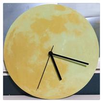 11.8in Luminous Moon Earth Wall Decals Sticker Wall Clock -Yellow Moon - $24.99