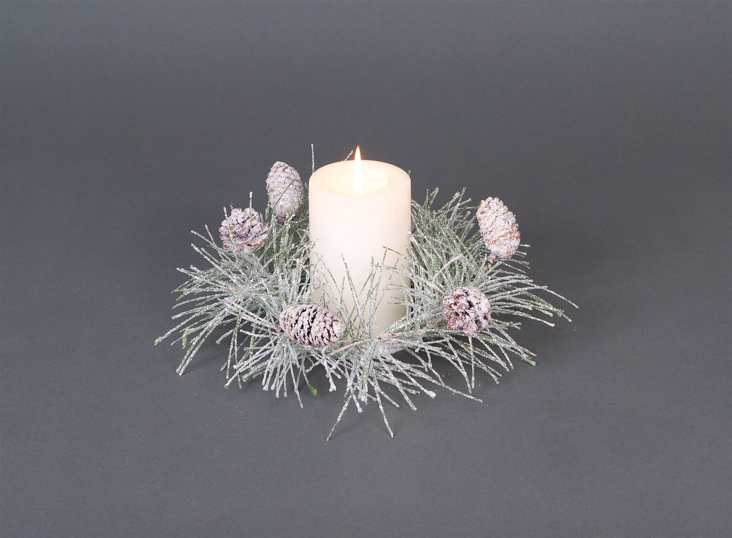 "Iced Pine Cone Candle Ring 12""d (Fits 3"" Candle)"