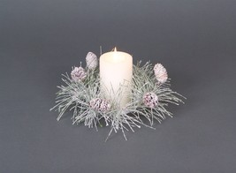 """Iced Pine Cone Candle Ring 12""""d (Fits 3"""" Candle)"""