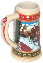Budweiser Beer Stein Hometown Holiday 1993 Collection Clydesdale Horses Vintage - $59.95