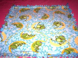 Frog Moon Stars Fleece Blanket Baby Pet Lap Hand Tied Green Blue Shower ... - $39.95