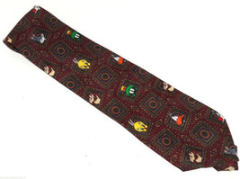 Looney Tunes Mens Neck Tie Necktie Bugs Bunny Daffy Duck Taz Maroon Green - $34.95