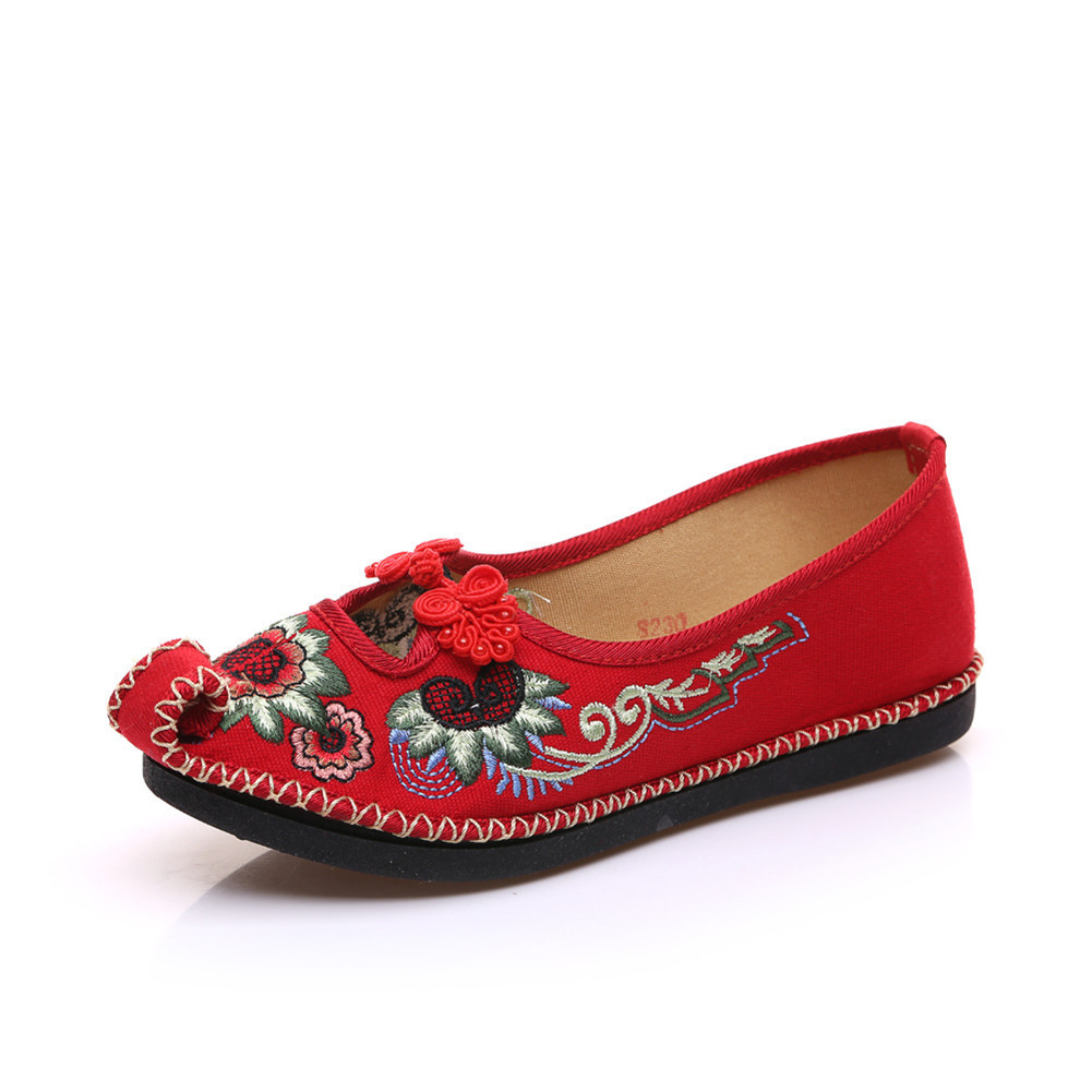 Chinese Embroidery Shoes embroidered Canvas Shoes dancing shoes red