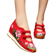 Chinese Embroidery Shoes embroidered Canvas sports shoes red - $32.09