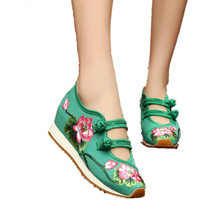 Chinese Embroidery Shoes embroidered Canvas sports shoes green - $32.09