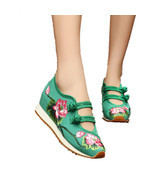 Chinese Embroidery Shoes embroidered Canvas sports shoes green - $44.98 CAD
