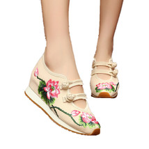Chinese Embroidery Shoes embroidered Canvas sports shoes beige - $32.09