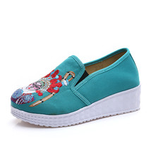 Chinese Embroidery Shoes embroidered Canvas Shoes dancing shoes loafers green - $25.49