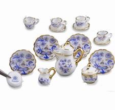 DOLLHOUSE Coffee Tea Set for 4 Blue Onion1.363/6 Reutter Miniature - $51.75