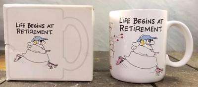 "Primary image for Hallmark Shoebox ""Life Begins at Retirement"" Roller Skating Coffee Mug Cup 1987"