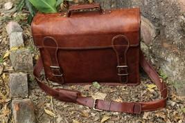 Mens Genuine Vintage Leather Messenger Bag Shoulder Laptop Bag Mens Leat... - $60.18