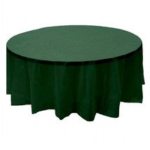 """2 Plastic Round Tablecloths 84"""" Diameter Table Cover - Hunter Green - $6.92"""