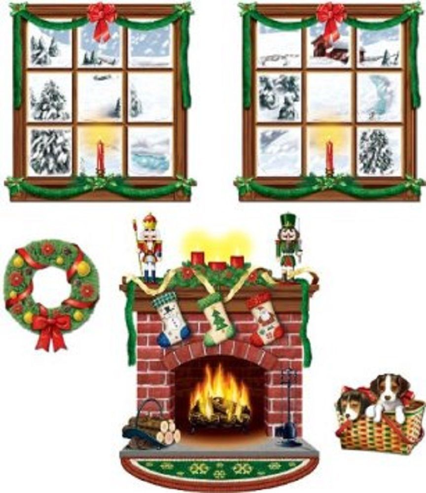 CHRISTMAS Holiday Party Decoration Fireplace Windows Wreath Puppy PROPS 5 props