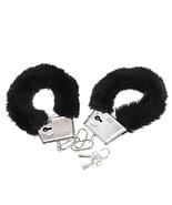 Onebest Soft Steel Fuzzy Furry Cuffs Working Metal Handcuffs (Black) - $9.50
