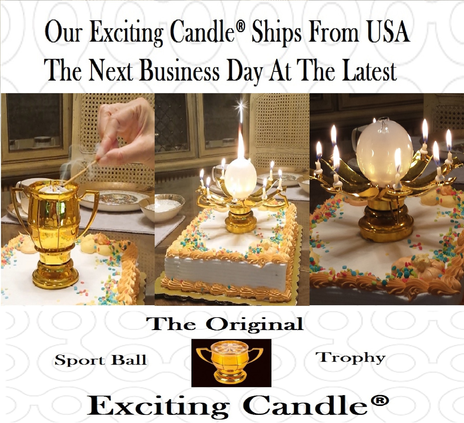 1 Golden Lotus + 1 Baseball Trophy + 1 Golf Trophy Birthday EXCITING CANDLE