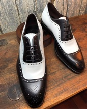 Handmade Two tone brogue leather shoes, Men black and white lace up form... - $159.99