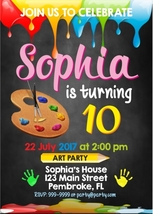 Art Party Digital Invitation, Painting Birthday Party Invites - $8.00