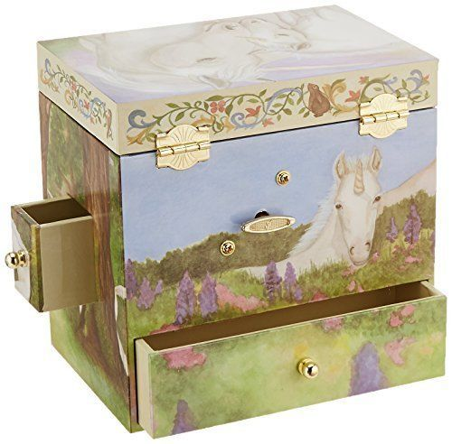 Girls 3 drawer enchanted unicorn musical music jewelry for Girls large jewelry box