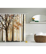 NEW Tan Beige Brown White Autumn Fall Tree w Gold Leaves Bathroom Shower... - €29,37 EUR