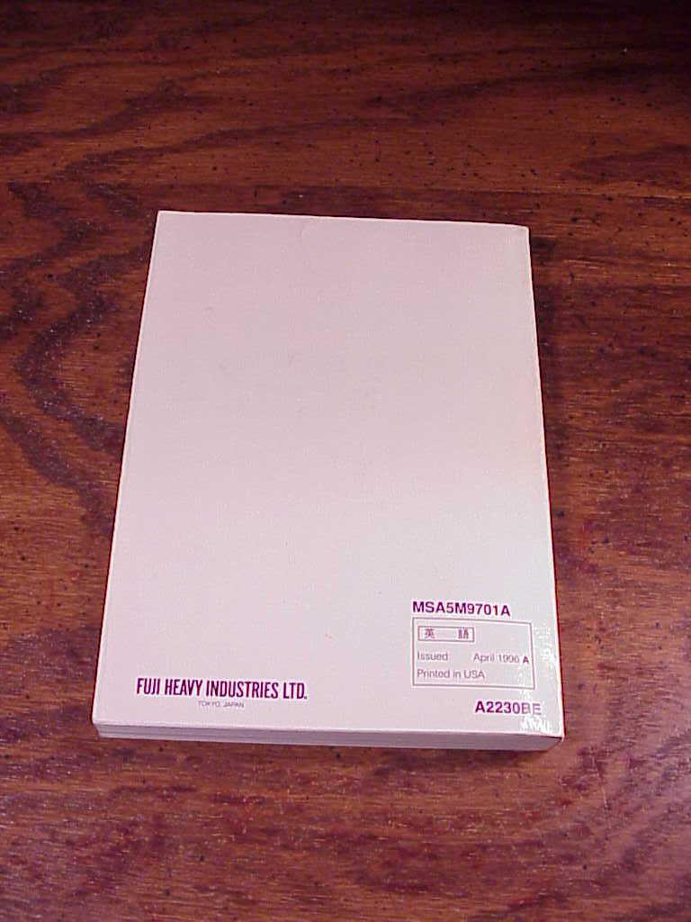 1997 Subaru Legacy Car Owner's Manual, no. MSA5M9701A and A2230BE