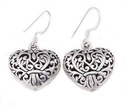 Sterling Silver Filigree Puff Heart Dangle Earrings - $22.21