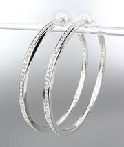 CLASSIC Thin 18kt White Gold Plated Inside Outside CZ Crystals Hoop Earrings LG - $49.99