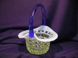 3186 Fenton Vaseline Opal Waffle Block Hat Basket - $85.00