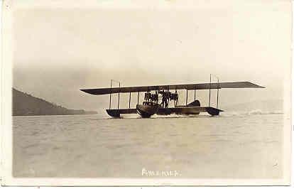 Glen Curtiss Seaplane America at Lake Keuka New York 1917 Photo Post Card