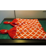 Handmade Crocheted Top Terry Cloth Hanging Kitchen Towels  With Red And ... - $6.00