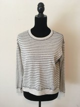 J. Crew Gray & Silver Metallic Striped Sweater Merino Wool Size Large - $28.71