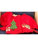 New Red Christmas Sweater Hat Tam Beret Pom Pom 3 Months Cardigan Button... - $19.77