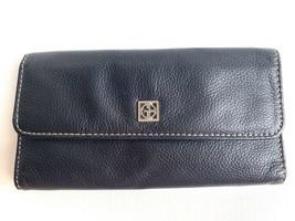 GIANI BERNINI Women's Black Pebbled Genuine Leather Wallet Clutch - £15.06 GBP