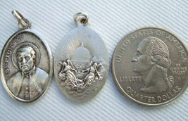 Vintage Catholic Medal Pope St. Pius X Papal Vatican 1960's silver finish metal - $13.09