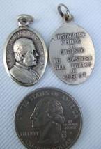 Vintage Catholic Medal Pope St. Pius X Papal Motto silver finish metal - $13.09