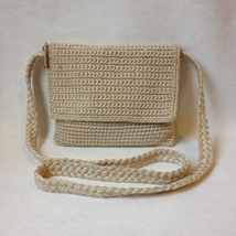 The Sak Beige Crochet Knit Shoulder Bag Purse Small Tote Crossbody Handbag - $24.00